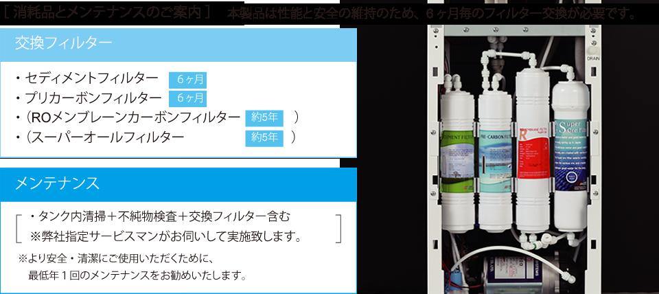 水素水サーバー消耗品とメンテナンスのご案内